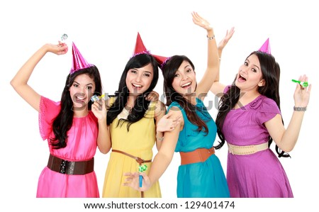 group of woman celebrating new year isolated over white background