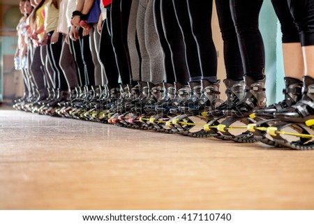 group of woman doing exercises  fitness with  kangoo shoes - stock photo