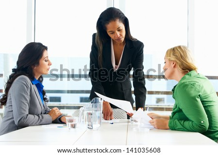 Group Of Women Meeting In Office - stock photo