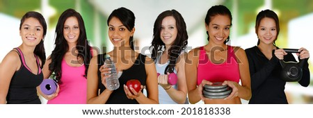 Group of women working out at the gym