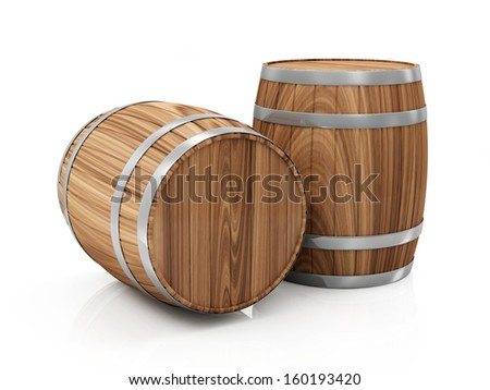 Group of Wooden Barrels isolated on white background - stock photo