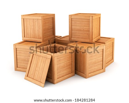 Group of wooden boxes isolated on white background. Shipping, cargo, warehouse and logistic concept. - stock photo