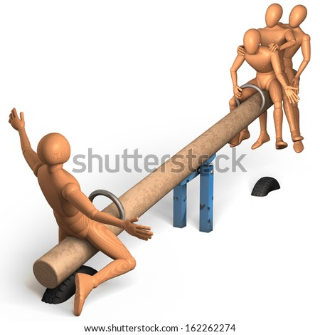 Group of wooden figures, men balancing, riding on a seesaw, 3d rendering isolated on white background - stock photo