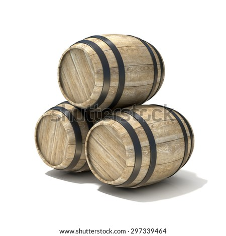 Group of wooden wine barrels. 3D render illustration isolated over white background - stock photo