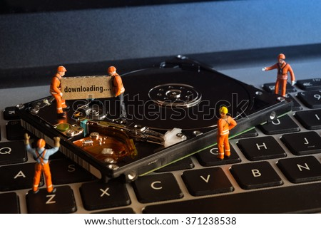 Group of worker working on computer hardisk drive, Disk management concept - stock photo