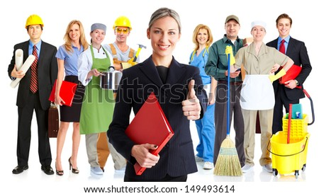 Group of workers people. Business team. Isolated over white background. - stock photo