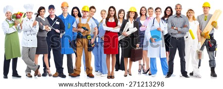 Group of workers people. Isolated on white background - stock photo