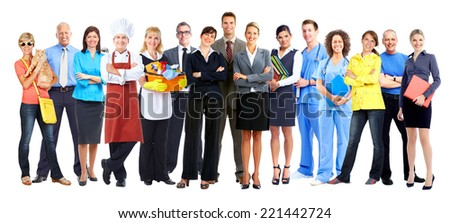 Group of workers people isolated over white background - stock photo
