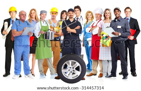 Group of workers people isolated white background. Teamwork. - stock photo