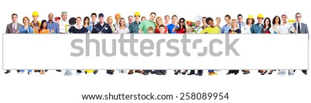 Group of workers people with poster. Isolated on white background - stock photo