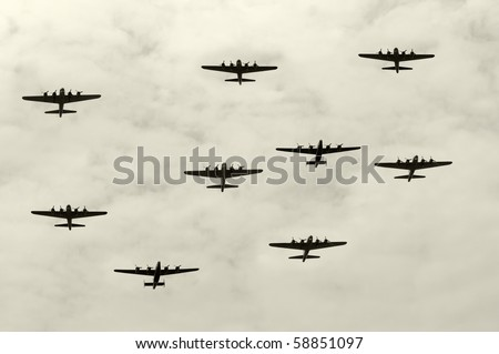 Group of World War II heavy bombers on a mission - stock photo