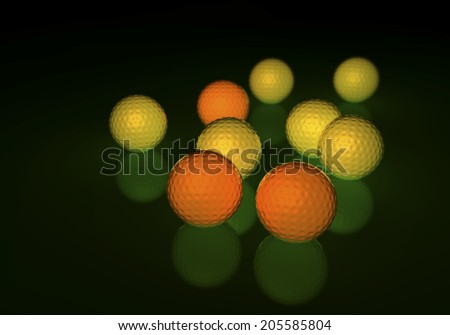 Group of yellow and orange golf balls, glowing on a reflecting surface, 3d rendering on dark background - stock photo