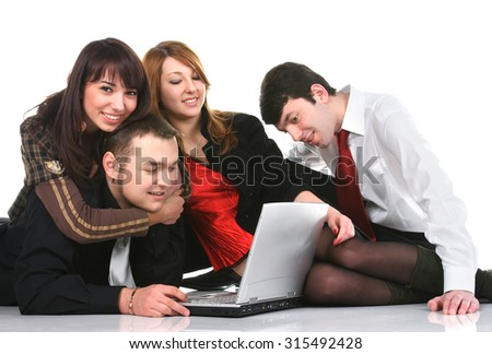 group of young active people, the collective knowledge of information - stock photo