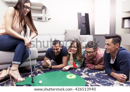 Three Young Women Playing Games Having Stock Photo 79790506