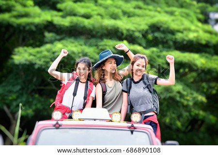 Group of young Asian woman travel hipster hiking holiday, wild adventure. Background for Travel concept .