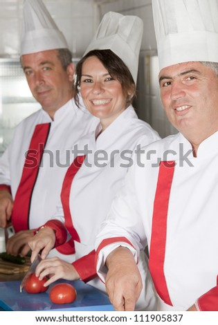group of young beautiful professional chefs portrait in industrial kitchen