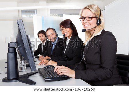 Group of young business customer service people