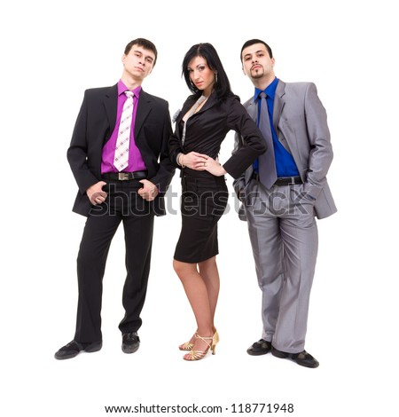 Group of young business people, isolated over white background. - stock photo