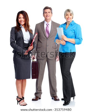 Group of young business people isolated over white background. - stock photo
