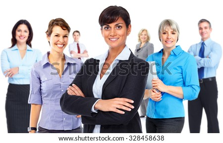 Group of young business people isolated white background.