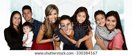 Group of young familes together with their kids