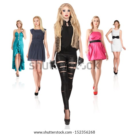 Group of young fashionable women isolated on white background - stock photo