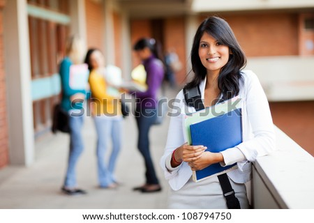 group of young female college students on campus - stock photo