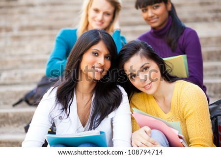 group of young female university friends - stock photo