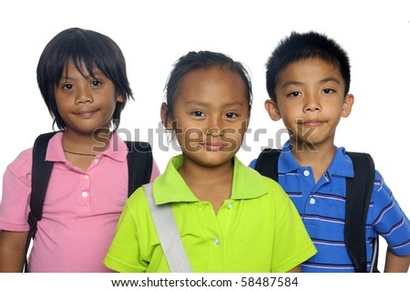 group of young friends ready for school - stock photo