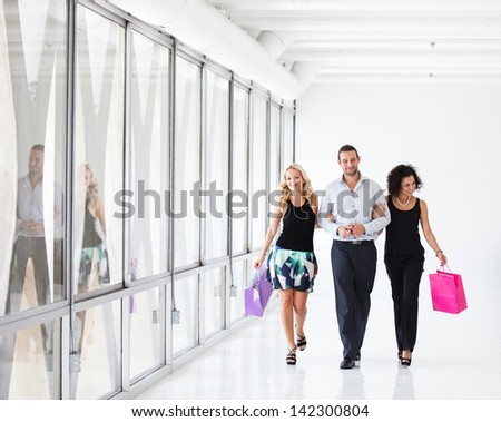Group of Young Friends shopping together in Los Angeles - stock photo