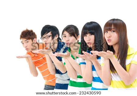 Group of young friends showing empty hand - stock photo