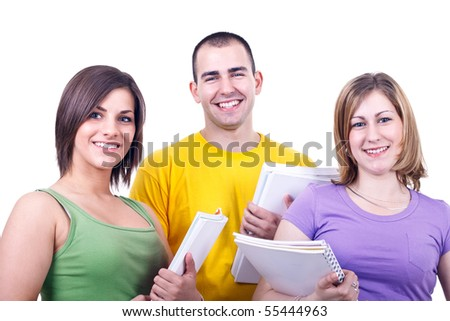 group of young happy students standing with books - stock photo
