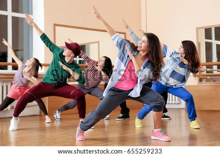 Hip hop stock images royalty free images vectors shutterstock group of young hip hop dancers in studio voltagebd Image collections
