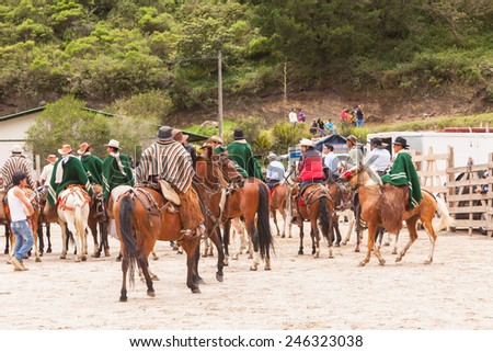 Group Of Young Latin Men Riding Horses Expecting Show Time, Local Competition, South America  - stock photo