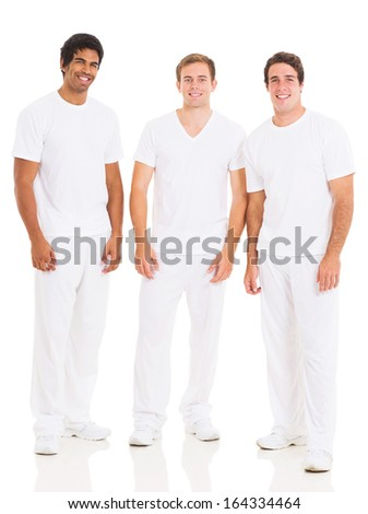 group of young man in white isolated on white background - stock photo