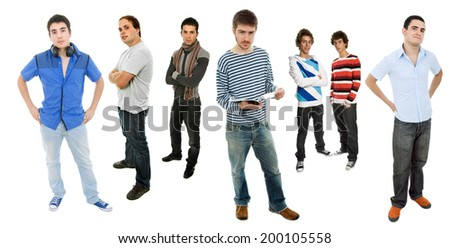 group of young men full body, isolated - stock photo