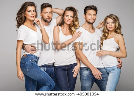 Group of young models posing