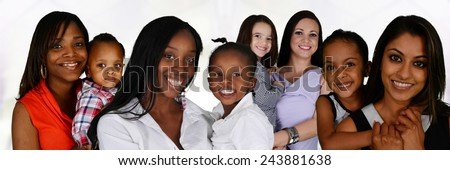Group of young mothers with their children
