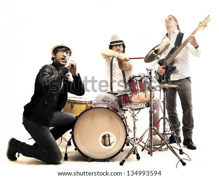 group of young musicians who play - stock photo