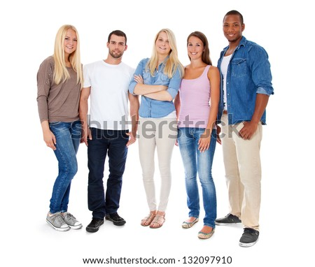 Group of young people. All on white background. - stock photo