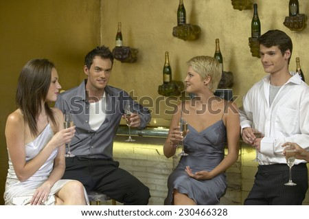 Group of Young People at a Bar - stock photo
