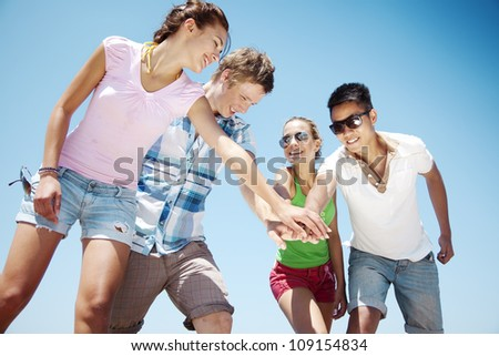 group of young people bonding - stock photo