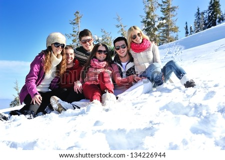 Group of Young People enjoying Winter