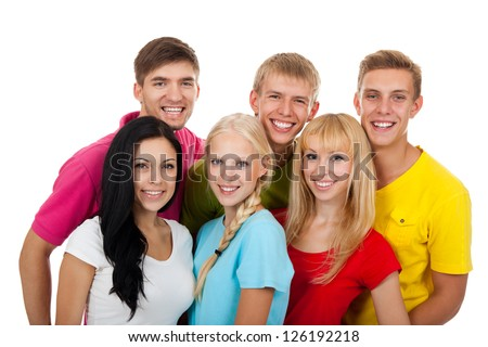 group of young people, Happy excited smiling friends students standing isolated on white background - stock photo
