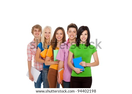 Group of young people, happy excited smiling students standing in a row holding notebooks, friends isolated on white background - stock photo
