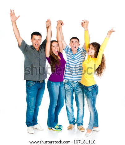 group of young people holding hands isolated on a white background - stock photo