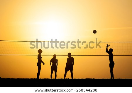 group of young people igoat in volleyball on the sea coast