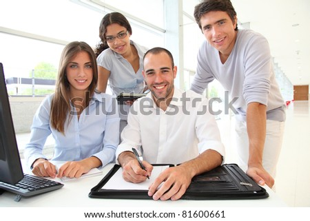Group of young people in training course - stock photo