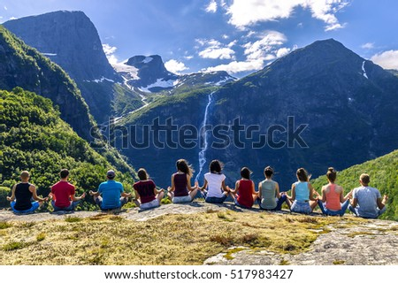 Group of young people is travelling around the Norway