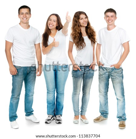 Group of young people on a white board. - stock photo